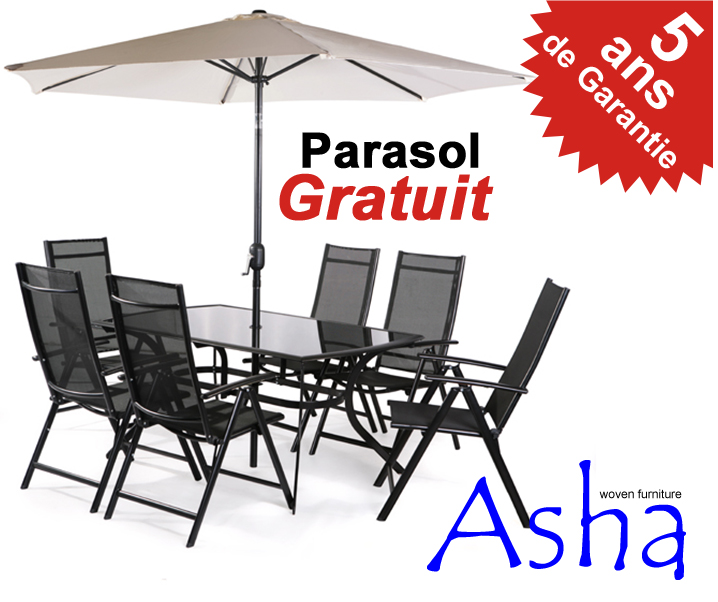 Salon de jardin 6 places textil ne avec parasol kensington for Salon de jardin avec parasol