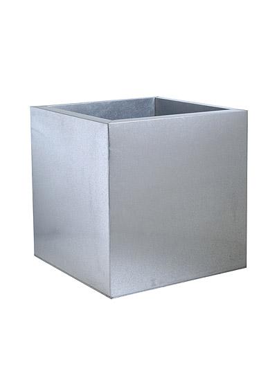 Cache pot carr en zinc galvanis en acier - Cache pot en zinc ...
