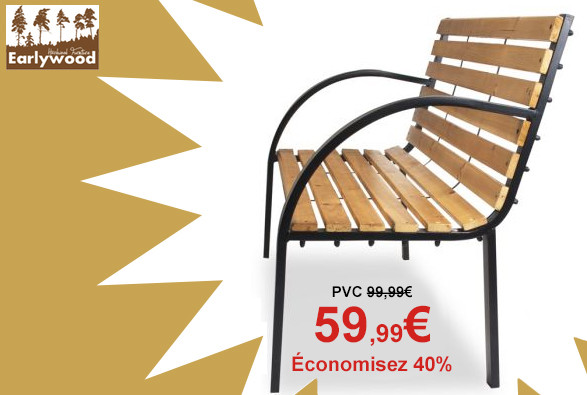 Banc 2 Places Earlywood™ Yarnton en Bois Dur - 1.2m