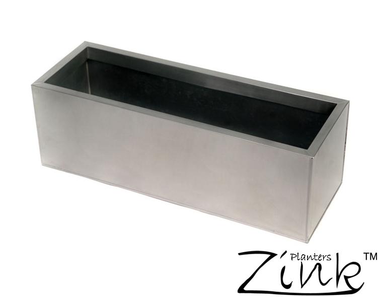 Jardini re rectangulaire en zinc galvanis argent - Jardiniere zinc rectangulaire ...