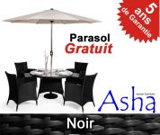 Salon de Jardin 4 Places en R�sine Tress�e Marlborough Noir avec Parasol - Asha�