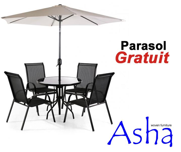 Salon de jardin 4 places textil ne avec parasol napoli 364 99 for Salon de jardin avec parasol