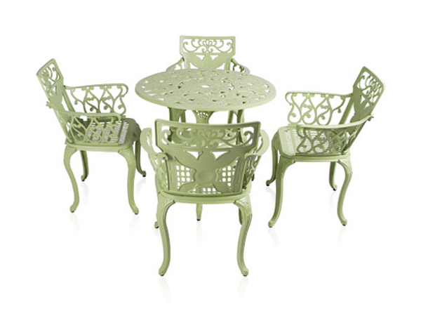 Ensemble meubles de jardin versailles blanc en fonte d for Ensemble meuble de jardin