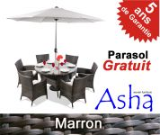 Salon de Jardin 6 Places en R�sine Tress�e Chesham (Marron) avec Parasol- Asha�