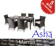 Salon de Jardin 6 Places R�sine Tress�e Sherborne (Marron) - Asha�