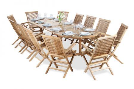 Salon De Jardin 12 Places Teck A Lakeland Table Extensible Ovale