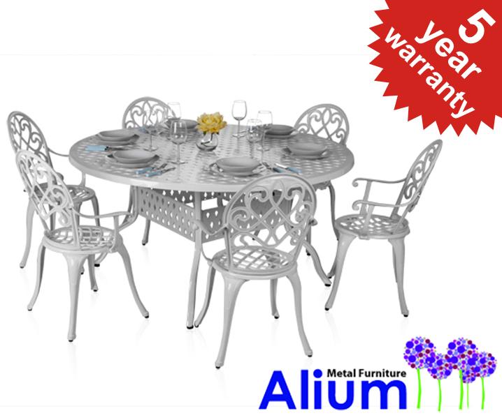 Salon de jardin circulaire 6 places alium chenonceau en fonte d 39 aluminium blanc 779 99 - Salon de jardin fonte aluminium ...