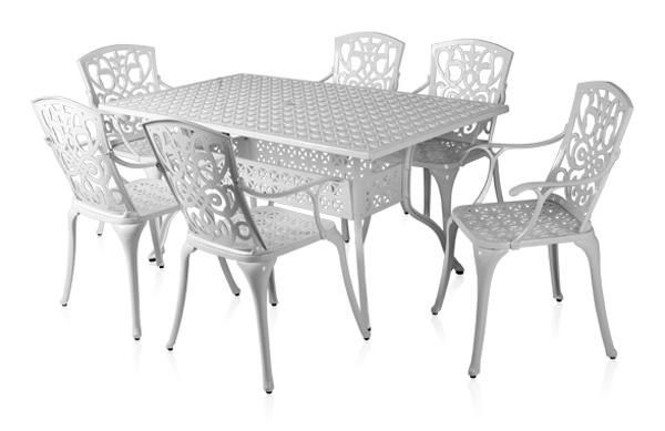salon de de jardin rectangulaire 6 places alium cleveland en fonte d 39 aluminium blanc 729 99. Black Bedroom Furniture Sets. Home Design Ideas
