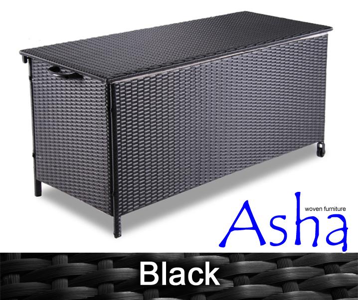 Coffre de rangement asha leighton en r sine tress e noir 251 99 - Coffre resine tressee noir ...