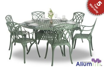 Salon de de Jardin 6 places Alium Washington en Fonte d'Aluminium - Vert For�t