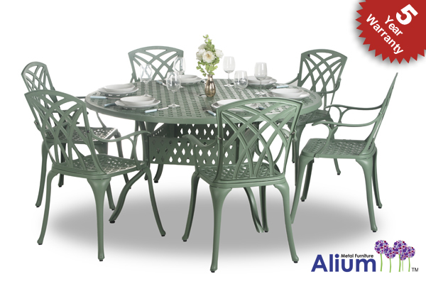 salon de de jardin 6 places alium washington en fonte d 39 aluminium vert for t 799 99. Black Bedroom Furniture Sets. Home Design Ideas