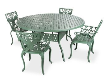 salon de de jardin 4 places alium lincoln en fonte d 39 aluminium vert for t 679 99. Black Bedroom Furniture Sets. Home Design Ideas