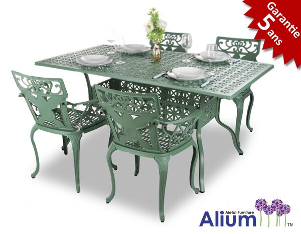 salon de jardin rectangulaire 4 places alium lincoln en fonte d 39 aluminium vert for t 599 99. Black Bedroom Furniture Sets. Home Design Ideas