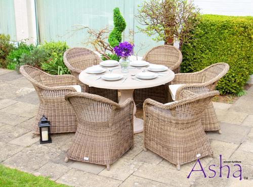 salon de jardin 6 pers en poly rotin et table effet pierre asha sonning. Black Bedroom Furniture Sets. Home Design Ideas