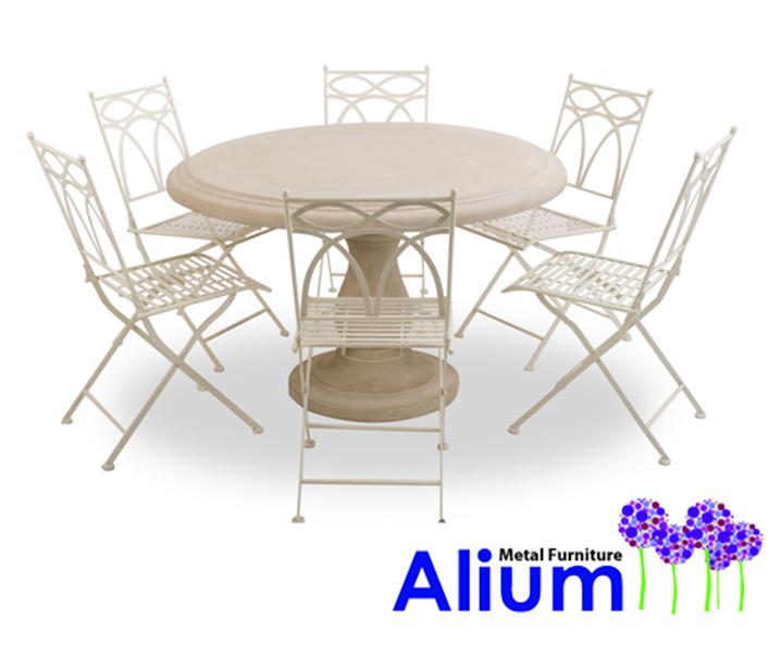 Salon de jardin 6 places alium pesaro avec table ronde en for Table ronde 6 places