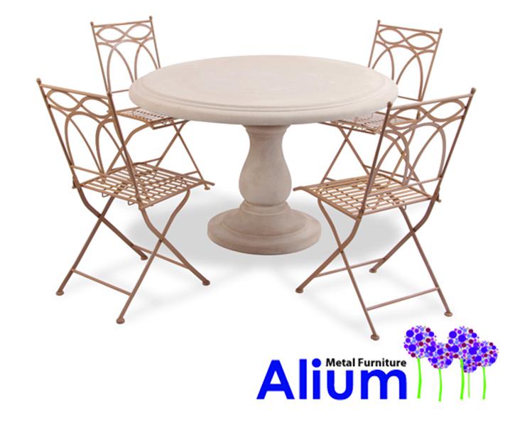 Salon de jardin 4 places alium pesaro avec table ronde en - Table de salon en pierre ...