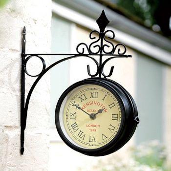 Horloge de gare kensington murale double face dia 15 cm for Horloge murale de gare