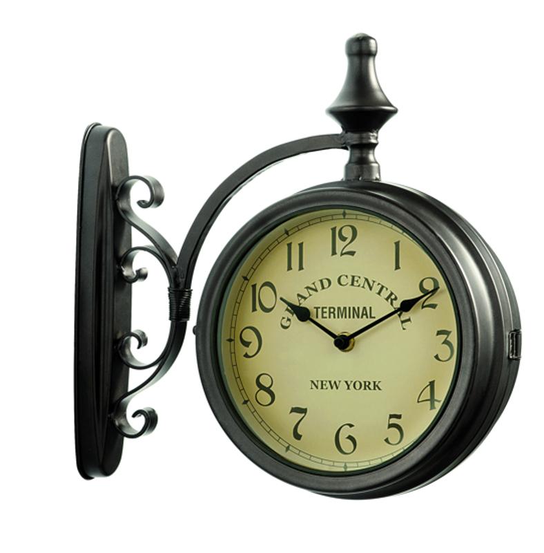Horloge de gare grand central double face horloge d ext rieur dia 17cm - Horloge de gare double face ...