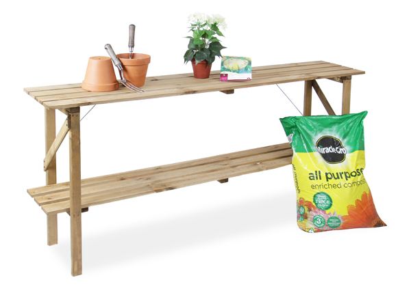 Table de Culture Pliable � �tag�res en Bois Lacewing� L 1.83m x P 35cm