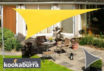 Voile d'Ombrage Jaune Triangle 5m - Imperm�able - 160g/m2 - Kookaburra