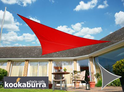Voile d'Ombrage Rouge Triangle 3m - Imperm�able - 160g/m2 - Kookaburra