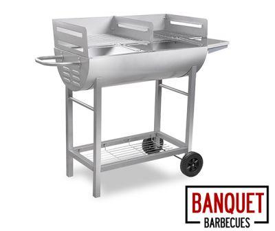 barbecue chariot demi tonneau charbon de bois banquet 82 99. Black Bedroom Furniture Sets. Home Design Ideas