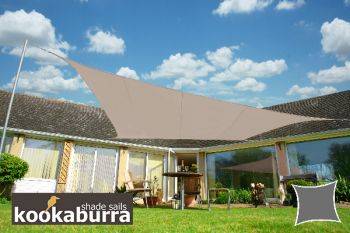 Voile d'Ombrage Taupe Carr� 5,4m - Imperm�able - 160g/m2 - Kookaburra