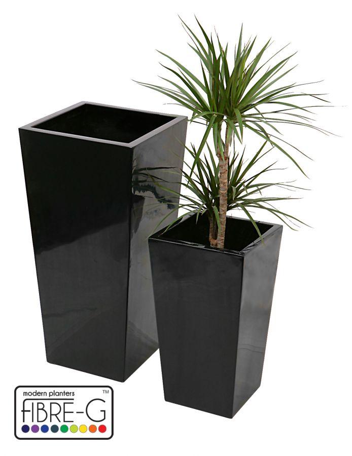 grand cache pot cubique en fibre de verre noir et gel moyen 104 99. Black Bedroom Furniture Sets. Home Design Ideas