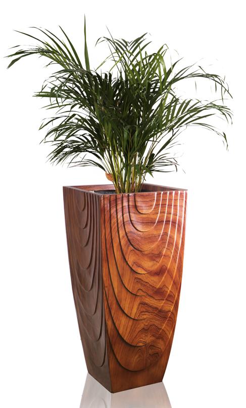 Haute jardini re carr en fibre de verre effet bois h - Jardiniere en fibre de verre ...