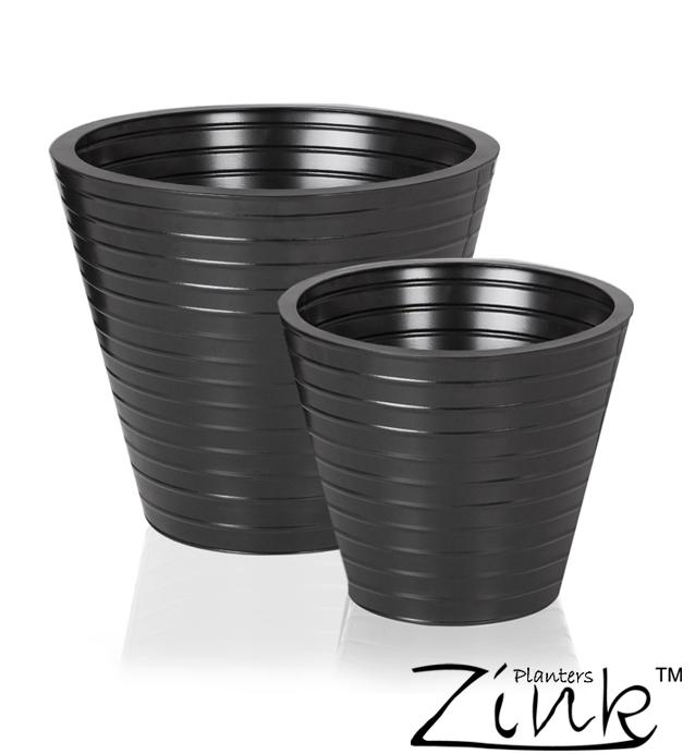 cache pot noir stri rond en acier d 35 cm 34 99. Black Bedroom Furniture Sets. Home Design Ideas