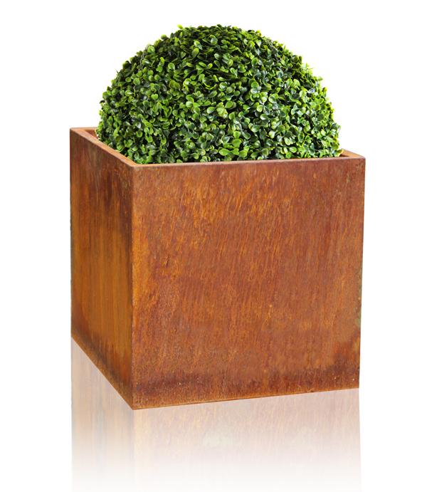 cache pot cube acier corten hauteur 50cm 159 99. Black Bedroom Furniture Sets. Home Design Ideas