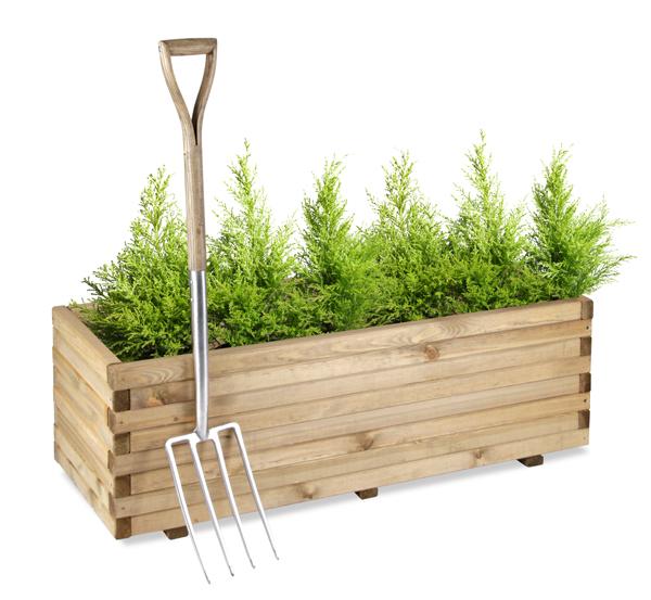Jardini re sur lev e en pin rectangulaire hauteur 40cm x for Jardiniere hauteur 1 metre