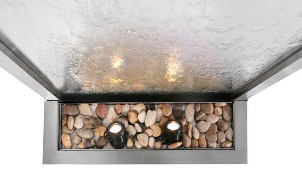 fontaine mur d 39 eau 1 73 m acier inox et verre clairage. Black Bedroom Furniture Sets. Home Design Ideas