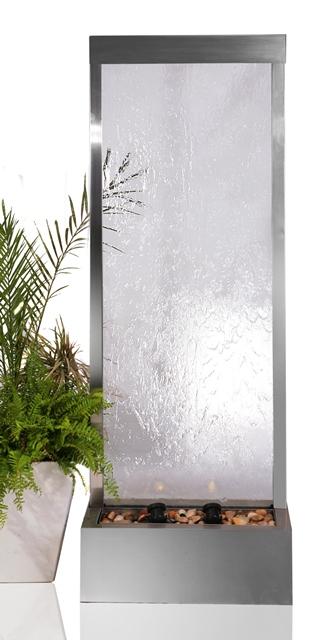 fontaine mur d 39 eau 1 73 m acier inox et verre clairage halog ne 499 99. Black Bedroom Furniture Sets. Home Design Ideas