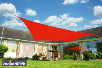 Voile d'Ombrage Rouge Rectangle 3x2m - Imperm�able - 160g/m2 - Kookaburra