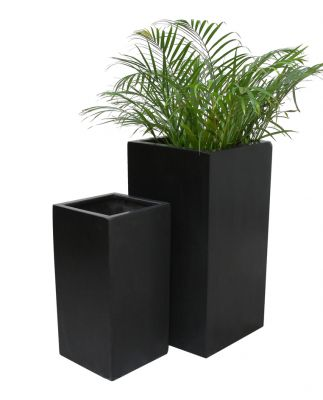Grand Cache Pot Cubique Polystone - Noir