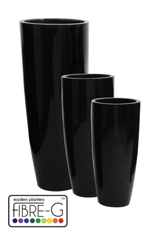 cache pot cylindrique haut en fibre de verre rev tement en gel noir grand hauteur 140 cm x. Black Bedroom Furniture Sets. Home Design Ideas