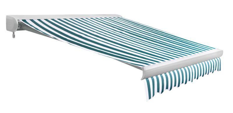 store banne coffre entier u line sans fil rayures vertes et blanches 4m x 3m 604 99. Black Bedroom Furniture Sets. Home Design Ideas