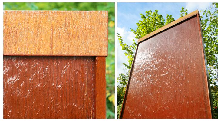 Mur d eau en acier corten avec clairage led 175cm 709 99 - Mur d eau jardin ...
