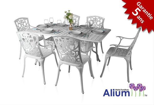 Salon de de Jardin Rectangulaire 6 places Alium Cleveland en Fonte  d\'Aluminium - Blanc