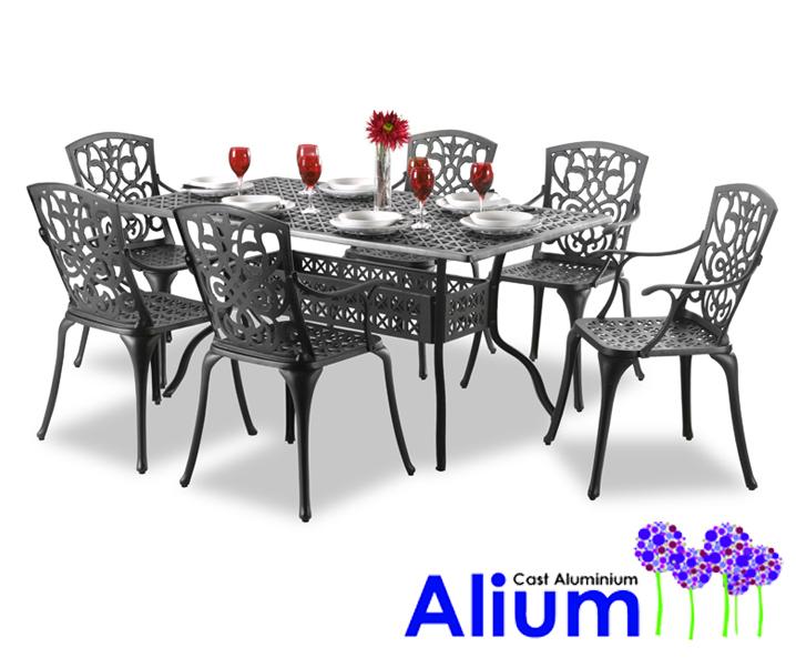Salon de de Jardin Rectangulaire 6 places Alium Cleveland en Fonte  d\'Aluminium - Noir