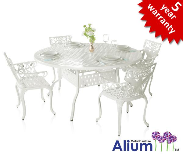 Salon de de Jardin 4 places Alium Lincoln en Fonte d\'Aluminium - Blanc