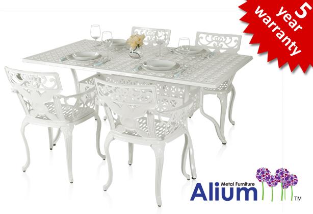 Salon de de Jardin 4 places Rectangulaire Alium Lincoln en Fonte  d\'Aluminium - Blanc