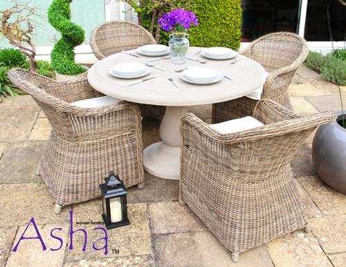 Salon de Jardin 4 Pers en Poly Rotin et Table Effet Pierre - Asha™