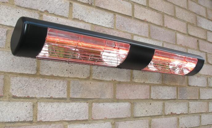 chauffage de terrasse etanche electrique 3kw noir lampe halog ne infrarouge quartz ip55 299 99. Black Bedroom Furniture Sets. Home Design Ideas
