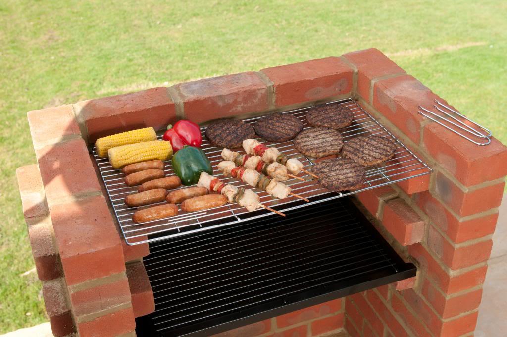 ensemble standard pour barbecue en brique avec grille en chrome - Barbecue En Brique Fait Maison