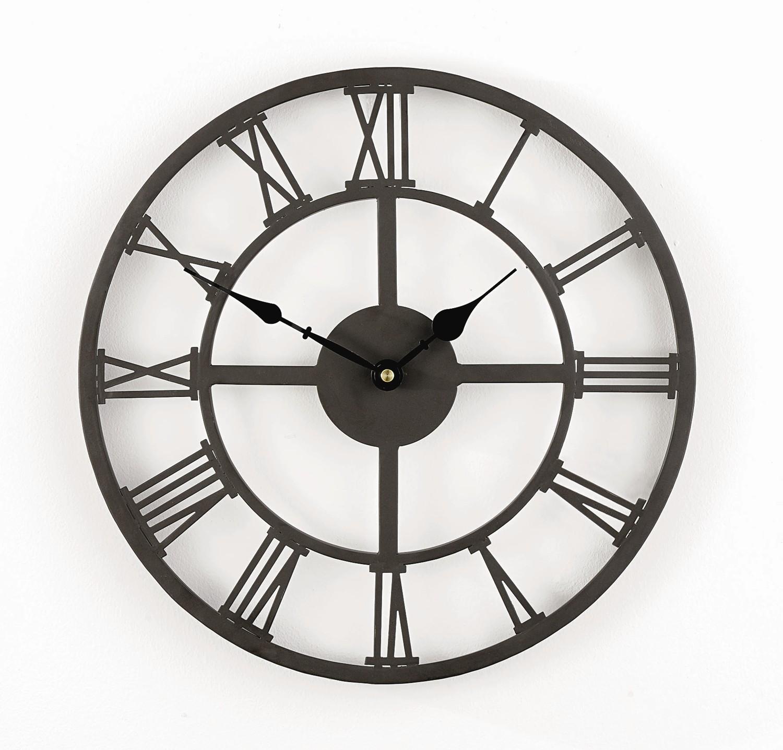 Grosse Horloge Fer Forgé horloge en fer avec chiffres romains - 34cm