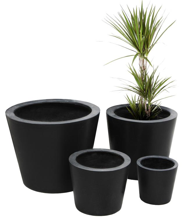 50cm grand cache pots polystone ronds noir 219 99. Black Bedroom Furniture Sets. Home Design Ideas