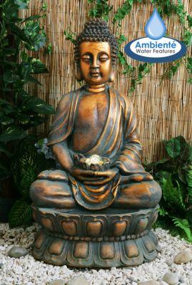 """Fontaine Exterieur Bouddha fontaine bouddha doré avec boule """"en lévitation"""" et Éclairage led"""