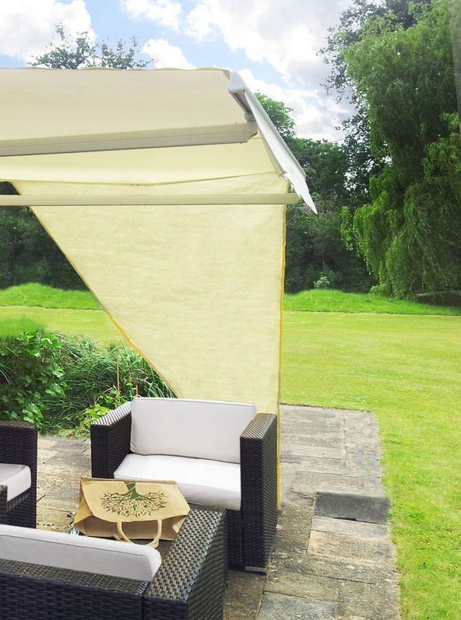 toile d 39 ombrage ivoire triangulaire angle droit pour store de terrasse 29 99. Black Bedroom Furniture Sets. Home Design Ideas